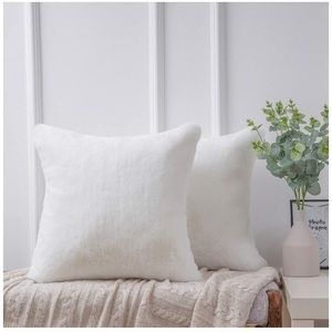 Ultra Soft Throw Pillows Faux Rabbit Fur Set Of 2